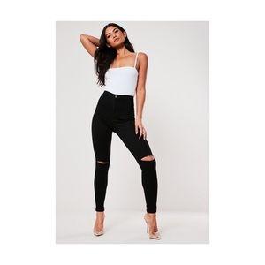 Vice High Waisted Slash Knee Skinny Jeans